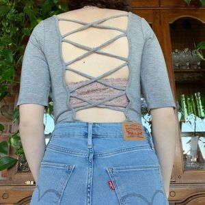 Backless Strappy Grey Bodysuit